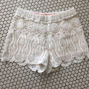 Anthropologie Off White Knit Shorts